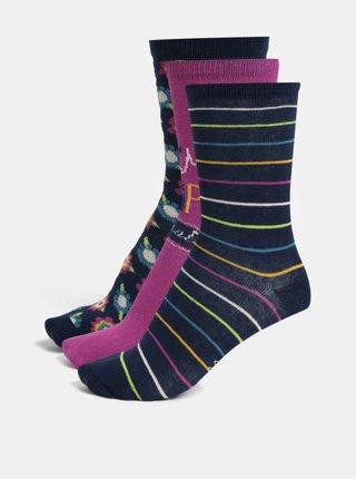 Súprava troch párov dievčenských ponožiek v modrej a fialovej farbe BÓBOLI