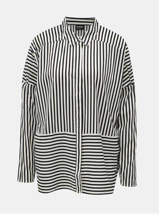Čierno–biela tenká pruhovaná oversize košeľa Noisy May