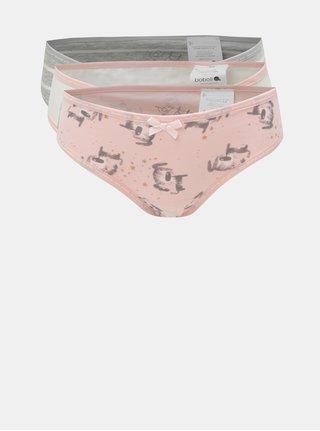 Sada tří holčičích vzorovaných kalhotek v růžové a šedé barvě BÓBOLI