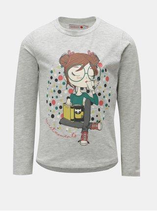 Svetlosivé dievčenské melírované tričko s potlačou BÓBOLI