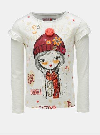 Krémové dievčenské tričko s potlačou a brmbolcom BÓBOLI