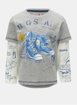 Bielo-sivé chlapčenské tričko s potlačou topánok BÓBOLI