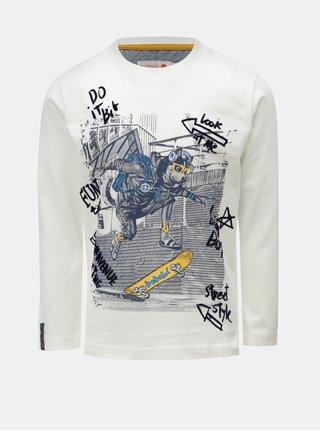 Biele chlapčenské tričko s potlačou longboardistu BÓBOLI