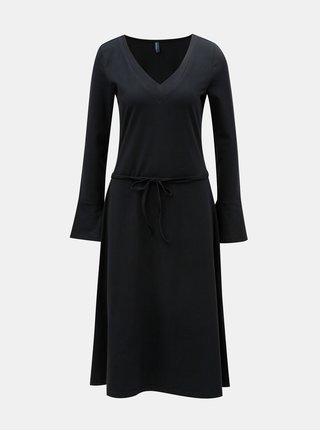 Čierne šaty s véčkovým výstrihom Tranquillo Ostara