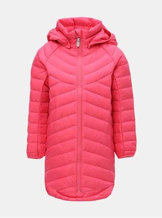 Růžová holčičí neonová funkční péřová bunda s kapucí na patentky Reima Filp
