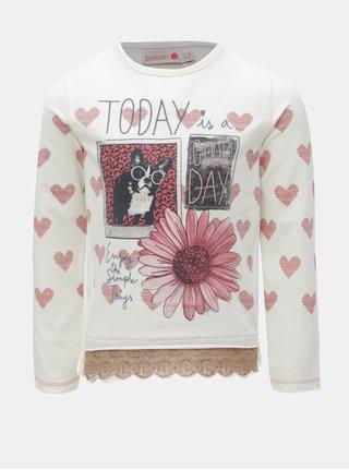 Růžovo-bílé holčičí tričko s krajkou BÓBOLI