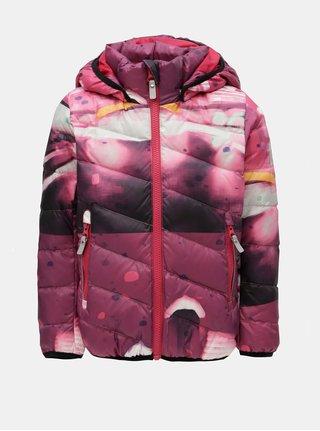 Fialová holčičí funkční péřová vzorovaná bunda s kapucí na patentky Reima Senja