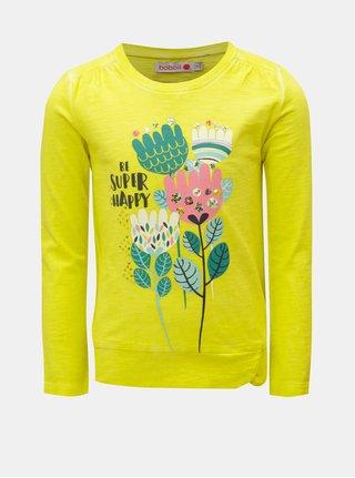 Žlté dievčenské tričko s flitrami a potlačou BÓBOLI