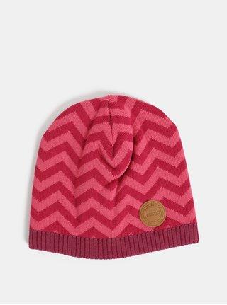 Tmavoružová dievčenská vlnená vzorovaná čiapka Reima Kolmio