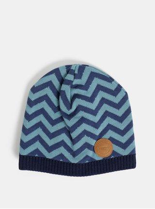 Tmavomodrá detská vlnená vzorovaná čiapka Reima Kolmio