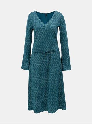 Petrolejové šaty s véčkovým výstrihom Tranquillo Ostara
