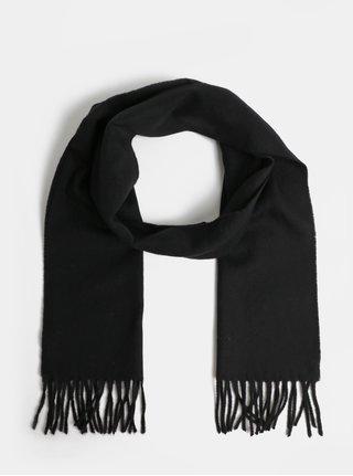 Čierny pánsky kockovaný vlnený šál so strapcami GANT