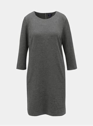 Tmavě šedé vzorované rovné šaty s 3/4 rukávem GANT