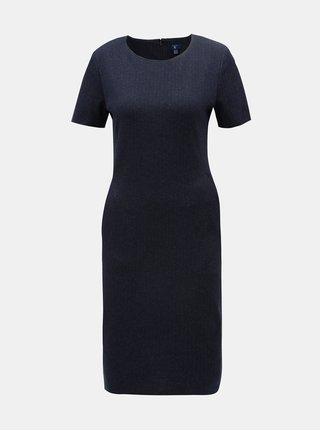 Tmavě modré pouzdrové vzorované šaty s krátkým rukávem GANT