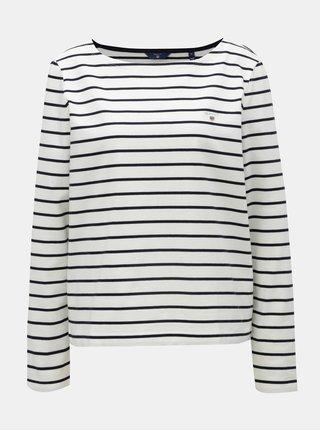Modro-bílé dámské pruhované tričko s dlouhým rukávem GANT