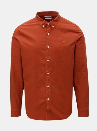 Hnedá pánska slim fit košeľa Farah