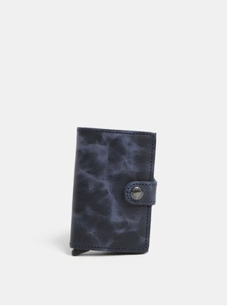 Modrá pánská kožená peněženka s hliníkovým pouzdrem s RFID Secrid Miniwallet