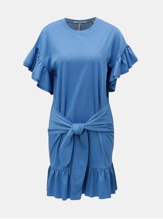 Modré šaty s volánmi a zaväzovaním v páse Scotch & Soda