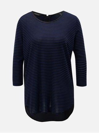 Modro–čierne pruhované tričko s predĺženou zadnou časťou Scotch   Soda 0493c32df07
