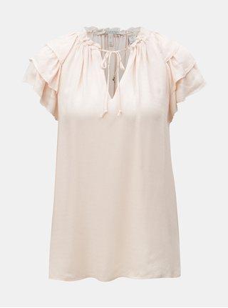 Bluza roz deschis cu volane pe maneci si snur la gat Scotch & Soda