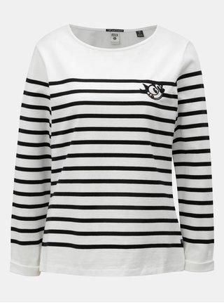 Tricou negru-alb in dungi cu broderie Scotch & Soda Felix