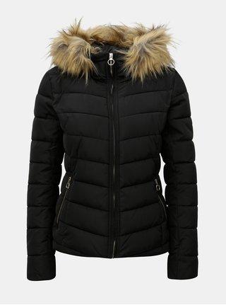 Čierna prešívaná zimná bunda s umelým kožúškom ONLY Ellan