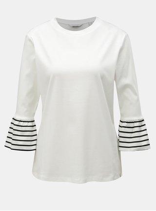 Biele tričko s pruhovanými volánmi na rukávoch Scotch & Soda