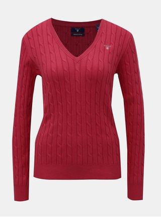 Červený dámský svetr s plastickým vzorem GANT