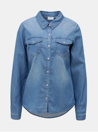 Modrá rifľová košeľa s dlhým rukávom VILA Bista