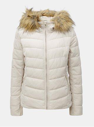Krémová prošívaná zimní bunda s umělým kožíškem ONLY Ellan
