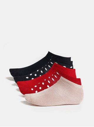 Súprava piatich párov dievčenských ponožiek v červenej, modrej a ružovej farbe Name it Melange