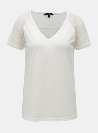 Bílé tričko s krajkou VERO MODA Tille