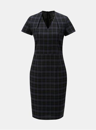Modro-černé kárované pouzdrové šaty s krátkým rukávem Dorothy Perkins
