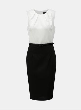 Bielo-čierne puzdrové šaty s odnímateľným opaskom Dorothy Pekrins