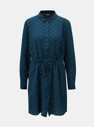 Petrolejové košilové vzorované šaty Jacqueline de Yong Run