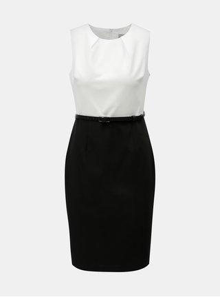 Bílo-černé pouzdrové šaty s odnímatelným páskem Dorothy Perkins Petite