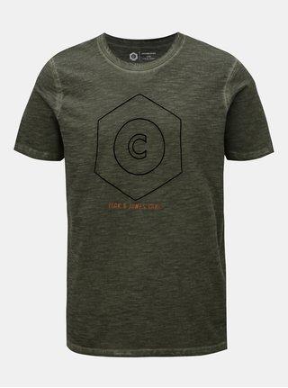 Khaki žíhané tričko Jack & Jones Pigments
