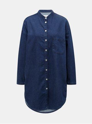 Rochie tunica albastru inchis din denim cu buzunar la piept Selected Femme Stef