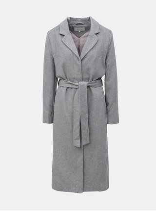 Šedý žíhaný vlněný kabát VILA