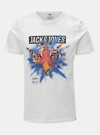 Tricou alb cu print Jack & Jones Rico