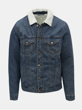 Jacheta albastra din denim cu blana artificiala ONLY & SONS Louis