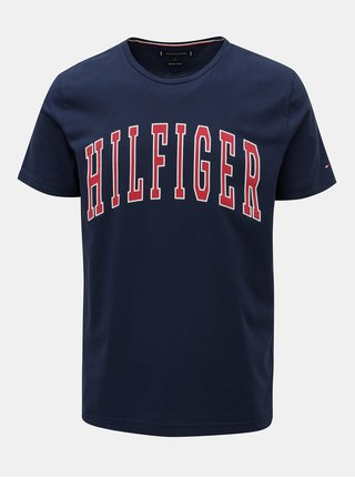 Tmavomodré pánske tričko s potlačou Tommy Hilfiger College