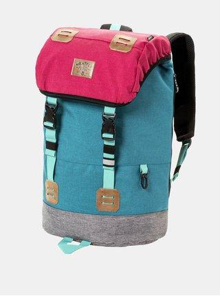 Tyrkysovo-ružový batoh s koženkovými detailmi a pláštenkou Meatfly 26 l