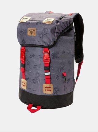 Tmavosivý batoh s koženkovými detailmi a pláštenkou Meatfly 26 l