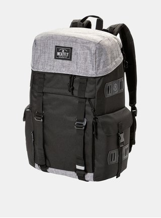Šedo-černý batoh s koženkovými detaily Meatfly 30 l