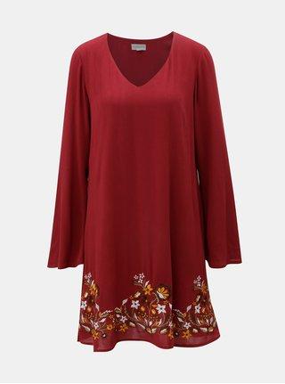 Červené šaty s výšivkou a zvonovými rukávy Apricot