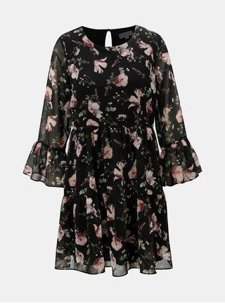 Rochie neagra florala cu volan Apricot