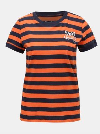 Tricou de dama albastru-oranj in dungi cu broderie Pepe Jeans