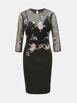 Čierne puzdrové šaty s výšivkou Little Mistress