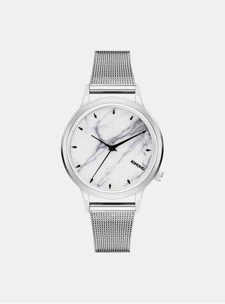 Dámske hodinky s remienkom v striebornej farbe a mramorovaným ciferníkom Komono Silver White Marble
